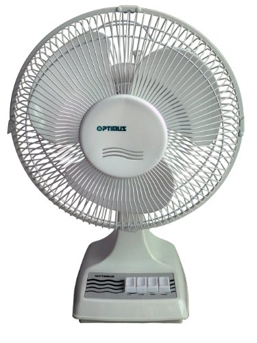 Optimus F-1610 16-Inch Oscillating 3-Speed Table Fan, White