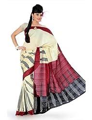Designersareez Women Bhagalpuri Silk Printed Cream Saree With Unstitched Blouse(837)