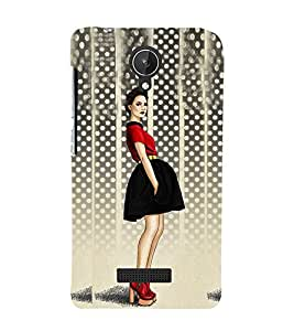 Stylish Girl Design Cute Fashion 3D Hard Polycarbonate Designer Back Case Cover for Micromax Canvas Spark Q380