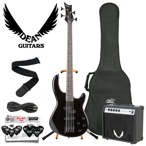 Dean Guitars E10APJ-CBK-Kit05 Dean Edge 10 Active PJ Bass, Classic Electric Bass – Black with Cable, Planet Waves 12 Pick Shredder Pack, Coffin Gig Bag and Dean Bassola 10 Amplifier