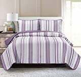 Pur Luxe Stripe Quilt Set, Twin, Striped, Lavender with Gray