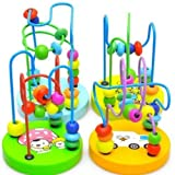 Cool88 New Colorful Wooden Toy Mini Around Beads Wire Maze Educational Game For Baby