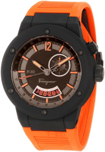 Ferragamo Men's F55LGQ6876 SR62 F-80 Black Carbon Fiber Orange Rubber Watch
