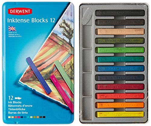 Derwent Inktense Blocks, 4Mm Core, Metal Tin, 12 Count (2300442)