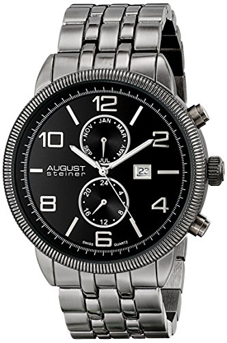 August Steiner Men's Swiss Quartz Watch with Black Dial Analogue Display and Black Alloy Bracelet AS8069BLK