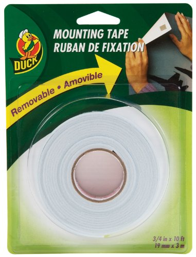 Duck Brand Removable Foam Mounting Tape, 0.75-Inch x 10 Feet, Single Roll, White (1098147) (Double Stick Tape Removable compare prices)