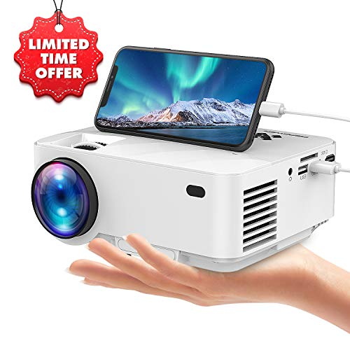 USB Video Mini Projector by DBPOWER, Connects with Smartphones and Tablets Via USB Cable, Home Theater Projector, 1080P/HDMI/VGA/USB/TV Box/Laptop/DVD/External Speaker Supported