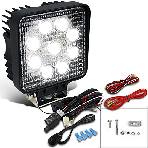 1X 27W 9-LED Square Style Offroad Work Lights Fog Lamps+Switch+Wiring (02 F250 Headlight Switch compare prices)