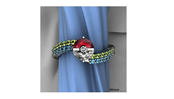 Pokeball Pokemon 1.48ct Half Red Garnet White Blue Green Cubic Zirconia 925 Sterling Silver Fashion Engagement Wedding Bridal Anniversary Ring,All Size available