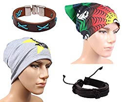 Sushito Stylish Winter Beanies Cap For Men With Stylish Headwrap & Wrist Band