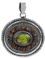 Exotic India Green Mohave Turquoise And Coral Pendant - Sterling Silver