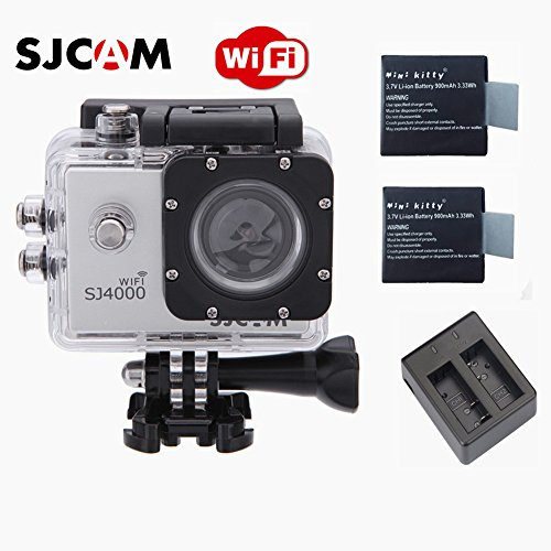 SJCAM Original SJ4000 WiFi Version Full HD 1080P 12MP Diving Bicycle Action Camera 30m Waterproof Car DVR Sports DV with Waterproof Case (Silver)+ Free Extra 2 Mini Kitty Batteries+ Free Dual Charger (Mini Dv Case compare prices)