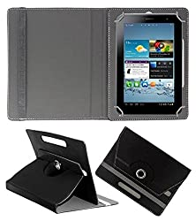 ECellStreet 10 Inch Rotating 360° PU Leather Flip Case Cover With Stand For karbonn cosmic Smart tab 10 - Black