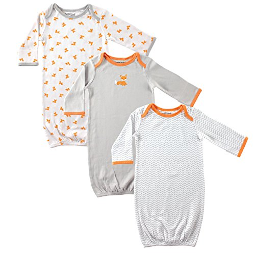 luvable-friends-baby-3-pack-rib-infant-gowns-gray-orange-fox-0-6-months