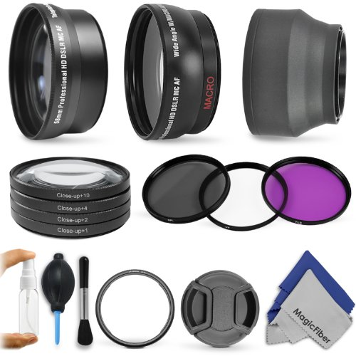Lens Accessory Kit for CANON PowerShot SX50 HS – Includes: 0.43x Wide Angle and 2.2x Telephoto Lenses + Adapter Ring + Vivitar Filter Kit (UV, CPL, FLD) + Macro Close-Up Set + Collapsible Soft Rubber Lens Hood + Center Pinch Lens Cap + Deluxe Cleaning Kit + MagicFiber Microfiber Cloth