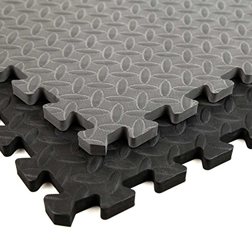 Incstores Diamond Soft Extra Thick Anti Fatigue Interlocking Foam Tiles (64 Pack, Grey) - 2ft x 2ft Tiles Ideal for Laundry Room Flooring, Kitchen Mats, Exercise Mats, Garage Mats and More