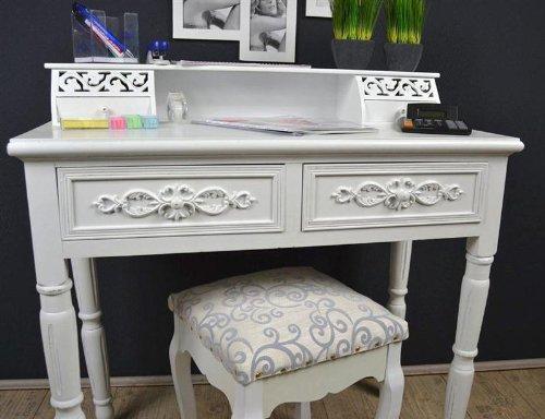 sekret r schreibtisch mit hocker landhaus antik wei. Black Bedroom Furniture Sets. Home Design Ideas