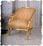 "Königlicher Armsessel, Lehnsessel, Polstersessel, Sessel – ""Bergere en Confessional"" – mit königlichem Ambiente im Rokoko-Stil in Gold – Palazzo Exclusive"