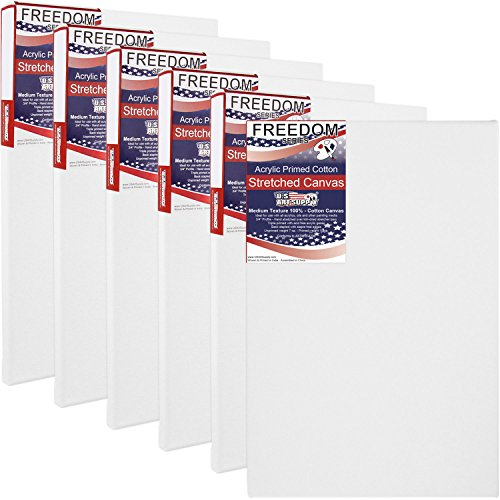 US Art Supply® 12 X 16 inch Professional Quality Acid Free Stretched Canvas 6-Pack – 3/4 Profile 12 Ounce Primed Gesso – Great for Students and Professional Artists (1 Full Case of 6 Single Canvases)
