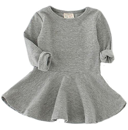 Baby Girl's Long Sleeve Pleated Infant Toddler Dresses Dress Tops Blouse 18-24Months Grey