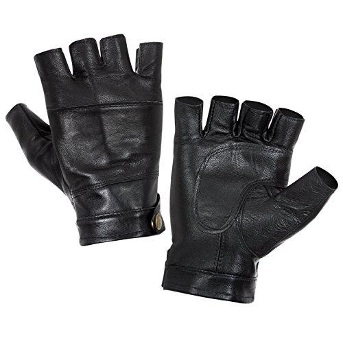 Hongye Mens Leather Motorcycle Gloves Driving Fingerless Gloves Black
