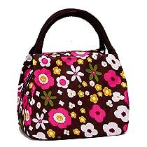 Cute Colorful Nylon Zipper Portable Cosmetic Lunch Picnic Handbag Bag , Coffee Flower