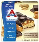 Atkins Advantage Caramel Bars, Chocolate Peanut Nougat, 5 - 1.6 Ounce Bars (Pack of 3)