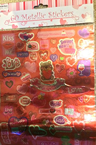 60 Metallic Stickers Valentine's Day