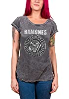Ramones Presidential Seal foil print logo offiziell acid wash Skinny Fit T Shirt