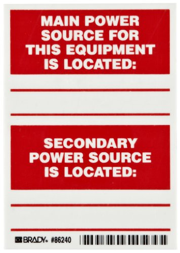 "Brady 86240 5"" Height, 3-1/2"" Width, B-302 High Performance Polyester, Red On White Color Main And Secondary Power Source Labels (Pack Of 5)"