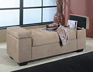 Beige Microfiber Storage Ottonman Coffee Table Bench