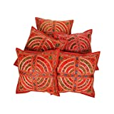 Rajrang Mirror Embroiderey Work Cotton Cushion Cover 16 By 16 Inches Set 5 Pcs - B00RQDP8RY
