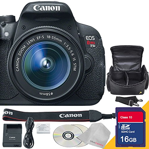 Canon EOS Rebel T5i DSLR Camera with 18-55mm Lens with 16GB SDHC Class 10 High Speed Memory Card and Camera Case