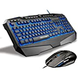 TeckNet LED Illuminated Programmable Gaming Keyboard and Mouse set, Water-Resistant Design, UK layout