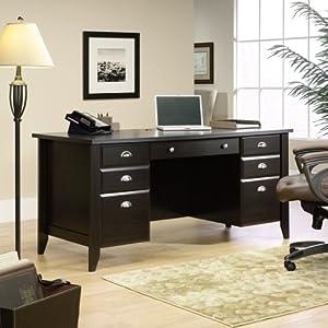 Sauder Shoal Creek Executive Desk in Jamocha Wood