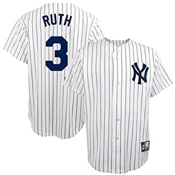 Babe Ruth New York Yankees Pinstripe Cooperstown Replica Jersey by Majestic by Majestic