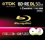 TDK データ用ブルーレイディスク 50GB BD-RE(繰り返し録画用) 2X ホワイトワイドプリンタブル 10mmケース 3枚パック BED50PWA3S