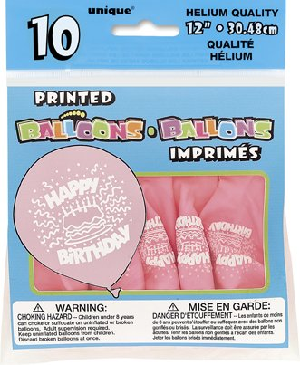 "Pink Birthday Cake 12"""" Balloons 10CT Case Pack"