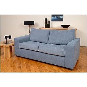 2 Seater Sofa Bed Denim Blue Chenille Fabric Carolina