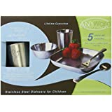 Untangled Living Anyware Collection Children's Stainless Steel Dish Set, 5 Pieces, Gecko