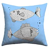 DENY Designs Romi Vega Two Fish Outdoor Throw Pillow, 16 by 16-Inch