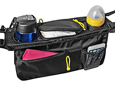 Rolling Over Universal Stroller Organizer Bag, Eco-friendly, Super Durable & Waterproof! 2 Cup Holders & Accessories Storage Bag for Strollers. Lifetime Warranty.
