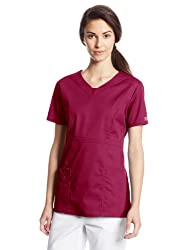 Cherokee Women's Workwear Scrubs Core Stretch Jr. Fit V-Neck Top, Wine, X-Small