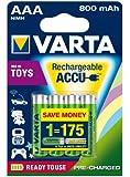 Varta Toy Rechargeable Accu Ready2Use AAA Micro Ni-Mh Akku (4-er Pack, 800mAh)