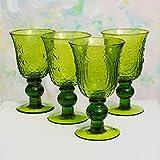 Stemmed Drinking Glasses, 7 inch Vintage Style Goblet, Green, 4 pk