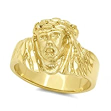 buy Men'S 14K Gold Plated 19Mm Wide Polished Jesus Christ Profile Ring - Size 10