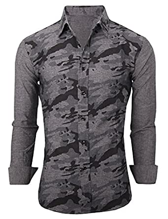 Tom 39 s ware mens stylish slim fit button down camo shirt for Tom s ware mens premium casual inner contrast dress shirt