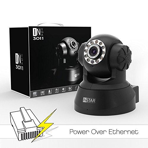 INSTAR® IN-3011 PoE (schwarz) steuerbare Pan Tilt PoE IP Kamera mit max. 15 festen Kamerapositonen, eingebautem Motor, Mikrofon, Lautsprecher, Alarm IO Ein/Ausgang sowie mit IR Nachtsicht. Für MAC / Windows / Linux / Android und IPhone