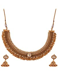 Ganapathy Gems 1 Gram Gold Plated Traditional Necklace Set