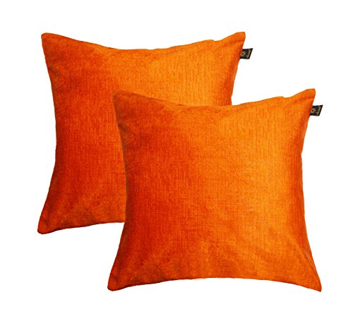 Lushomes Orange Embossed Blackberry Cushion Cover (Pack of 2)